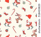 christmas seamless pattern. | Shutterstock .eps vector #518433820
