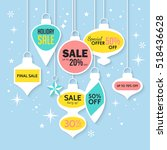 christmas sale banner and... | Shutterstock .eps vector #518436628