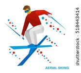 winter sports   aerial skiing ... | Shutterstock .eps vector #518443414