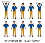 Man character set in various poses, isolated, vector illustration | Shutterstock vector #518448904