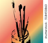 silhouette of paintbrushes in a ... | Shutterstock .eps vector #518453863