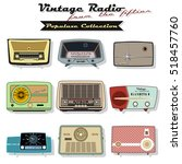 retro vintage radio set... | Shutterstock .eps vector #518457760