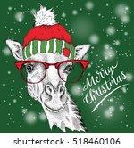 Christmas Card With Giraffe In...