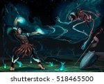 fighting scene between magician ... | Shutterstock .eps vector #518465500