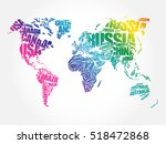 World Map In Typography Word...
