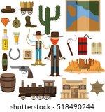 set of wild west  | Shutterstock .eps vector #518490244