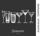 hand drawn glass stemware bottle | Shutterstock .eps vector #518496406