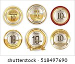 anniversary golden labels retro ... | Shutterstock .eps vector #518497690