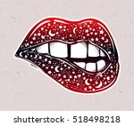 sexy fatal biting lips with... | Shutterstock .eps vector #518498218