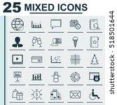 set of 25 universal editable... | Shutterstock .eps vector #518501644