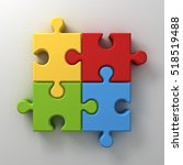 colorful jigsaw puzzle pieces... | Shutterstock . vector #518519488