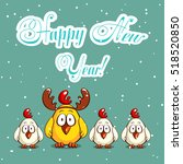 greeting card with funny... | Shutterstock .eps vector #518520850