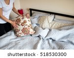 making bed room service. close... | Shutterstock . vector #518530300