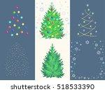 fir toy set with ball  garland  ... | Shutterstock .eps vector #518533390