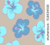 vector of tropical flowers ... | Shutterstock .eps vector #518534530