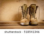 old brown military boots on a... | Shutterstock . vector #518541346