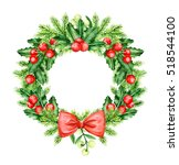 christmas wreath. holly berry... | Shutterstock . vector #518544100