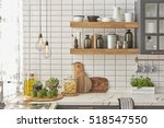 white tiles wall modern kitchen ... | Shutterstock . vector #518547550