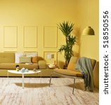 Yellow wall modern interior...