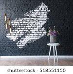 modern brick wall and vase ... | Shutterstock . vector #518551150