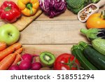 colorful fruits and vegetables... | Shutterstock . vector #518551294