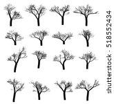 Winter Tree Set. Dry Tree With...