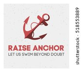 Red Anchor With A Rope On Grey...