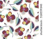 seamless pattern of tropical... | Shutterstock . vector #518559340