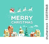 snowy street. urban winter... | Shutterstock .eps vector #518559868
