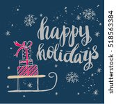 christmas card template. hand... | Shutterstock .eps vector #518563384