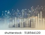 rows of coins for finance and... | Shutterstock . vector #518566120