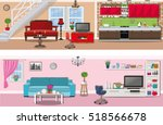 set of colorful vector interior ... | Shutterstock .eps vector #518566678