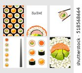 set of japanese food cards. set ... | Shutterstock .eps vector #518568664