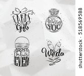 wedding symbols lettering cards ... | Shutterstock .eps vector #518569588