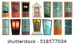 set of colorful front doors for ... | Shutterstock .eps vector #518577034