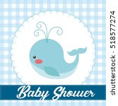 baby shower card with cute blue ... | Shutterstock .eps vector #518577274
