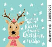 christmas card template. hand... | Shutterstock .eps vector #518580106