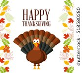 happy thanksgiving card with... | Shutterstock .eps vector #518580280