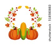happy thanksgiving card with... | Shutterstock .eps vector #518580883