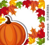 happy thanksgiving card with... | Shutterstock .eps vector #518580886
