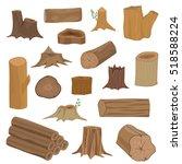 wood stumps vector set. | Shutterstock .eps vector #518588224