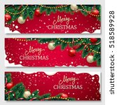 christmas banners set with fir... | Shutterstock .eps vector #518589928