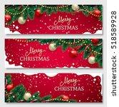 Christmas Banners Set With Fir...