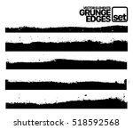 Set of grunge ink stroke lines template Hand drawn edges pattern background isolated vector illustration