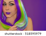 beautiful model with rainbow... | Shutterstock . vector #518595979