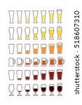 glasses of beer  empty  half ... | Shutterstock .eps vector #518607310