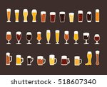 set of beer with bubbles in... | Shutterstock .eps vector #518607340
