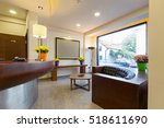 Small photo of Reception area with reception desk in modern hotel