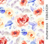 red and blue watercolor flower... | Shutterstock . vector #518614234