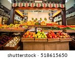 counters with fresh fruits and... | Shutterstock . vector #518615650